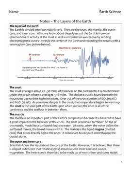 Free High School Earth Science Notes - Earth's Dynamic Crust