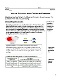 Middle School Physical Science Notes - Physical vs Chemical Changes