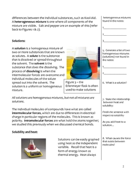 Middle School Physical Science Notes - Solutions and Mixtures