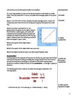 Middle School Physical Science Notes - Speed, Acceleration, Momentum