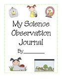 Science Observation Journal for Class Pets