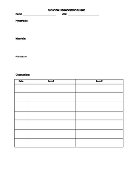 Science Observation Sheet Worksheets & Teaching Resources | TpT