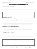 Science Observation Sheet for Elementary Students. For all Science Experiments