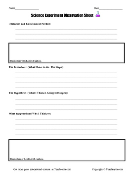 Science Observation Sheet for Elementary Students. For all
