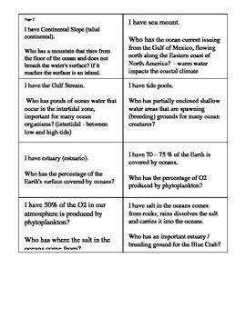 Science Oceans Vocabulary Activity Elementary Grade 5