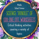 Science Odd One Out Worksheet Bundle