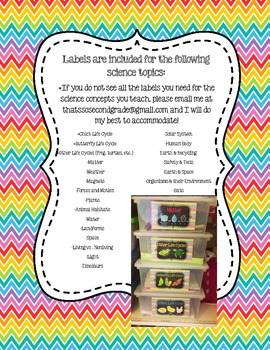Science Organizational Tub Labels (includes labels for 20+ science concepts!)