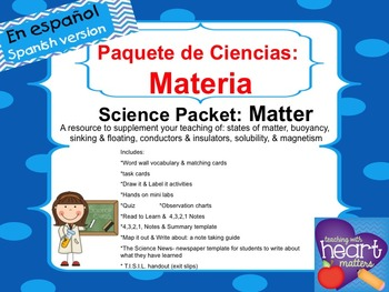 Science Packet: All about Matter IN SPANISH Ciencias: Materia
