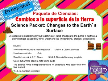 Science Packet: Changes to the Earth's surface IN SPANISH