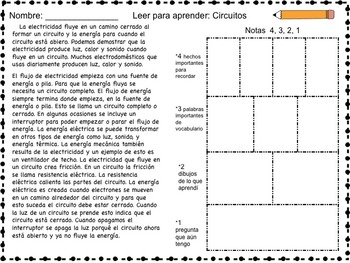 Science Packet: Circuits & Electricity IN SPANISH (Circuitos y electricidad)