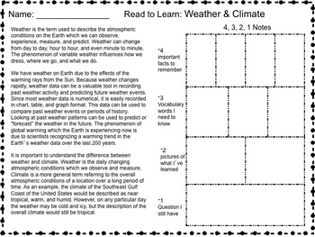 Science Packet: Comparing Weather and Climate