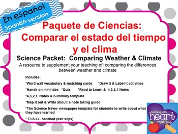 Science Packet: Comparing Weather and Climate IN SPANISH Tiempo y clima