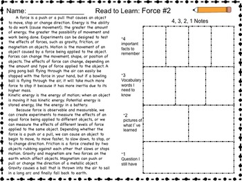 Science Packet: Force