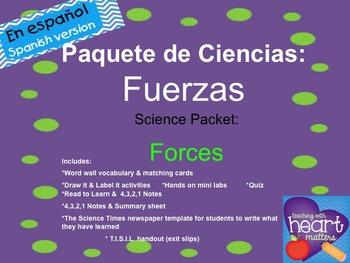 Science Packet: Force IN SPANISH Paquete de Ciencias: Fuerzas