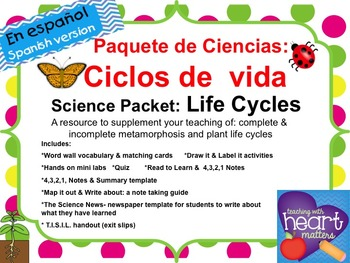Science Packet: Life Cycles IN SPANISH Ciclos de vida