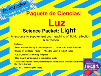 Science Packet: Light (Reflection & Refraction) IN SPANISH Luz