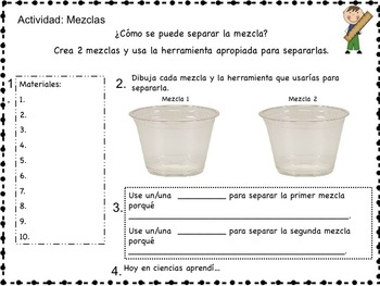 Science Packet: Mixtures and Solutions IN SPANISH Mezclas y soluciones