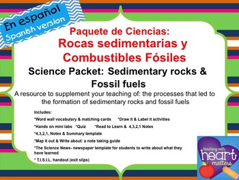 Science Packet: Sedimentary rocks and Fossil fuels IN SPANISH