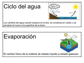 Science Packet: The Water Cycle IN SPANISH Ciclo del agua
