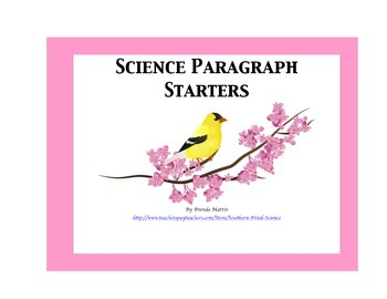 Science Paragraph Starter Questions: Common Core Tool