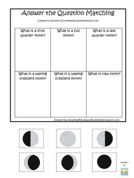 Science Phases of the Moon Answer the Question preschool homeschool learning gam