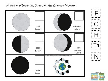 Science Phases of the Moon Beginning Sounds preschool homeschool game.