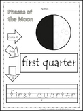 Science Phases of the Moon Color,Read,Trace preschool homeschool worksheets