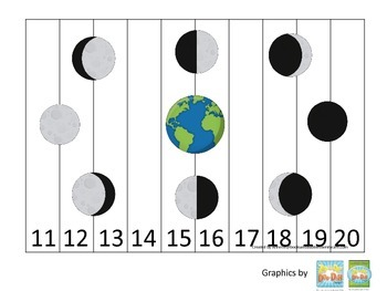 Science Phases of the Moon Number Sequence Puzzle 11-20 pr