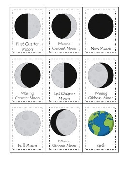 Science Phases of the Moon Three Part Matching preschool homeschool learning gam