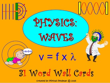 WAVES WORD WALL, Science Physics: Cards / Posters. VOCABULARY BUILDER, TEST PREP