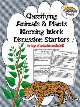 Science Plant and Animal Classification Morning Work/Activities/Prompts