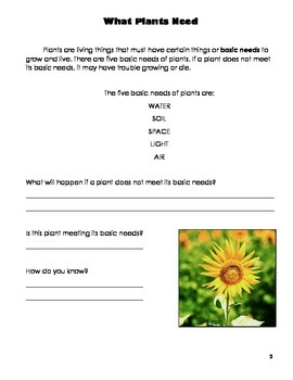 Science: Plants Workbook (Plant Needs & Life Cycle, Parts