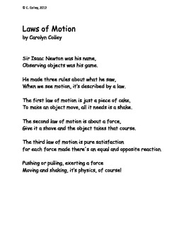 Science Poem about Forces and Motion