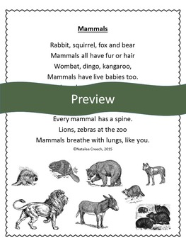 Science Poems and Songs: Mammals, Reptiles, Amphibians, Birds, Fish, Insects