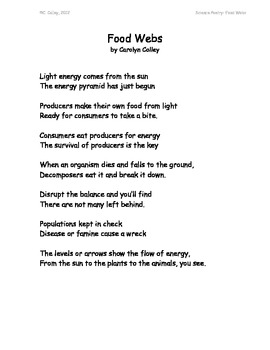 Science Poems and Songs about Energy Flow through Food Webs and Ecosystems