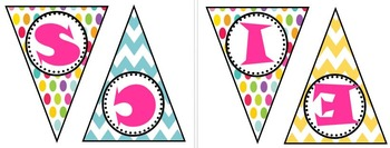 Science Polka Dot and Chevron Bunting Banner