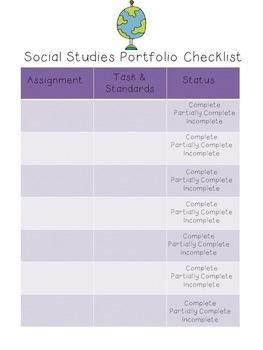 Student Portfolio Accountability Sheet