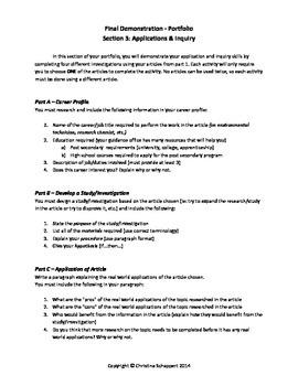 Science Portfolio - Culminating Activity