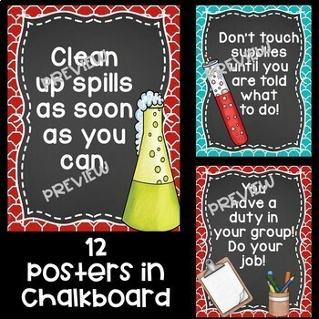 Science Poster Mini Bundle in Red and Teal