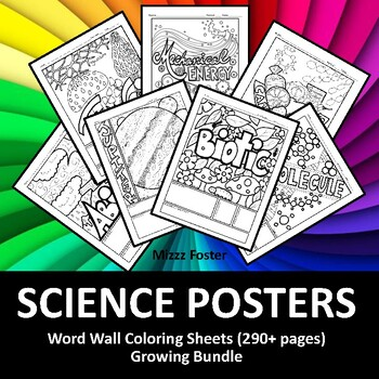 Science  Posters 190+ Word Wall Coloring Sheets: Biology, Chemistry, Physics