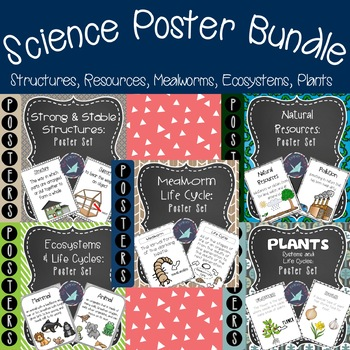 Science Posters Bundle {Structures, Resources, Mealworm, Ecosystems, Plants}