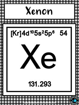 Science Posters- The Periodic Table-Gingham (black and white check)