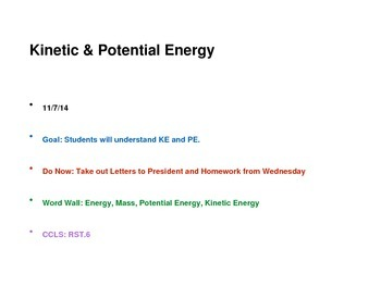 Science Potential and Kinetic Energy