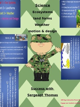 Science Power Point Game on Ecosystems, Land Forms, Weather, Motion & Design