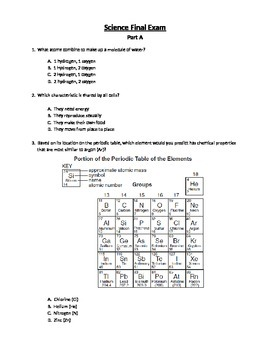 Science Pre/Post Cummulative Assessment Part A