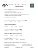 Science Prep---Minerals, Rocks, and Natural Resources Quiz