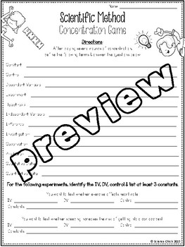 Scientific Method Concentration Game