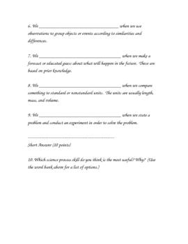 Science Process Skills Definition Quiz