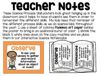Science Process Skills POSTERS - Set of 9 Posters (in color and black & white)