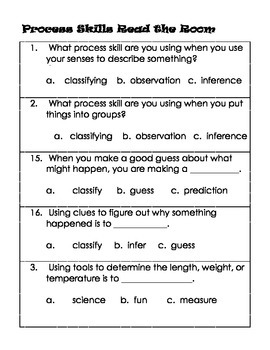 Science Process Skills Read the Room